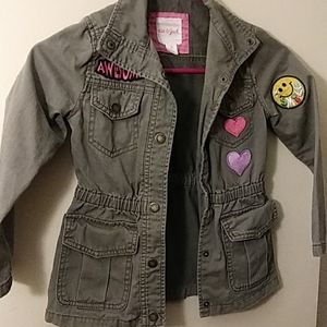 Cat & Jack Jackets & Coats - Girl's Army Jacket with Fun Patches Size XS